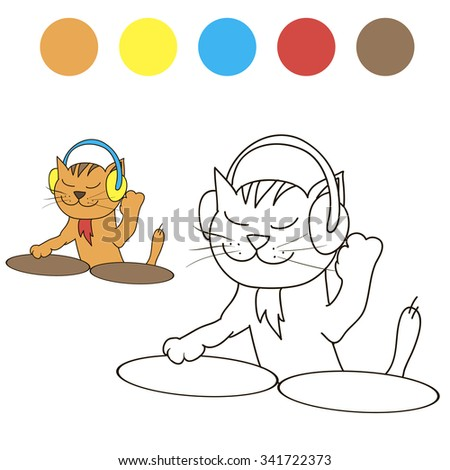 Coloring cat dj with color samples for children - stock vector