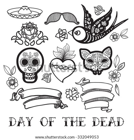 Coloring for adults  of Day of the Dead, a traditional holiday in Mexico. Skulls, flowers, ribbons, heart for the design of your products, labels - stock vector