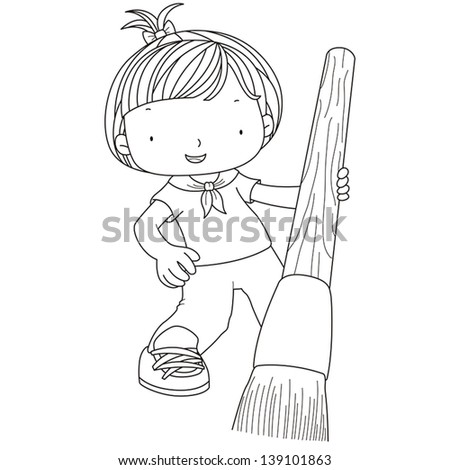 coloring illustration of a girl with watercolor brush. - stock vector