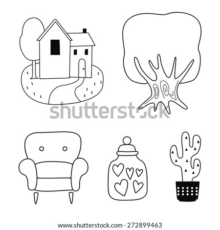 Coloring illustration-rural house-tree-chair-bottle-cactus flower - stock vector