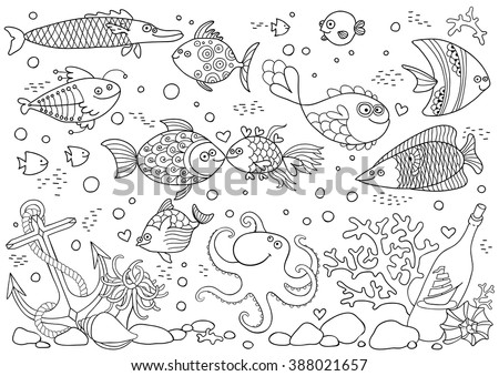 Coloring of underwater world. Aquarium with fish, octopus, corals, anchor, shells, stones, bottle with sailboat. Vector illustration. - stock vector