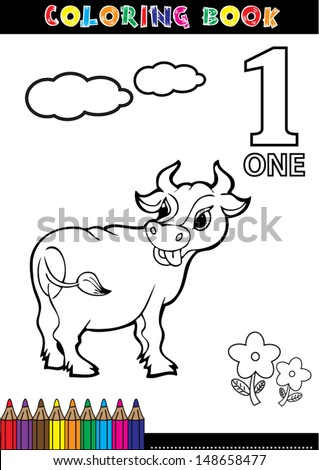 Coloring page cartoon illustration of a Number. 1 with a circus for children's education and fun. - stock vector