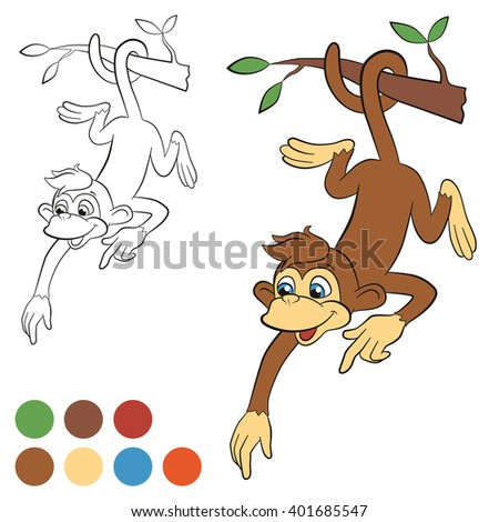 Coloring page. Color me: monkey. Little cute monkey hanging on the tree and pointing somewhere. Monkey smiles. - stock vector