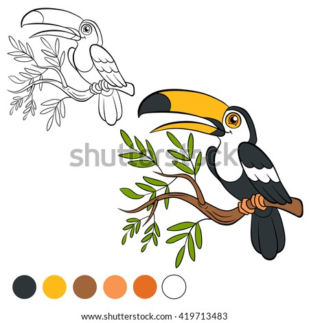 Coloring page. Color me: toucan.  Little cute toucan sits on the tree branch and smiles. - stock vector