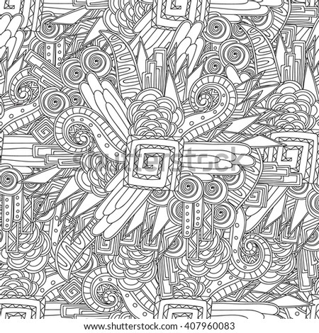 Coloring page for adults coloring book.Seamless black and white geometric pattern.Abstract ornate zentangle, doodle texture. Can be used for wallpaper, pattern fills, web page background. - stock vector