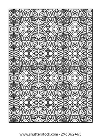 Coloring page for adults, or monochrome decorative background  - stock vector