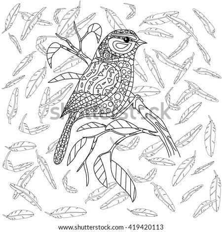Coloring page - mandala bird adult feather - stock vector