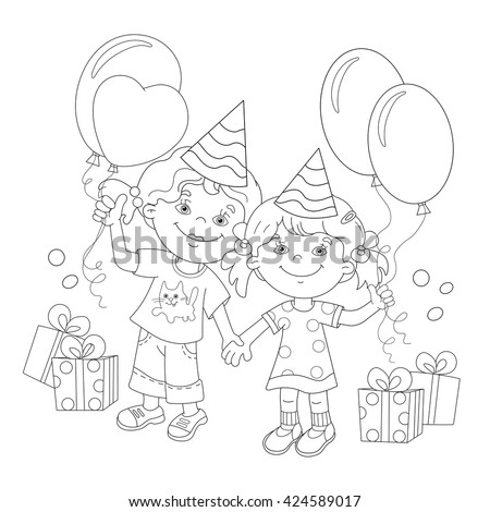 Coloring Page Outline Of cartoon girls with a gift at the holiday. Coloring book for kids - stock vector