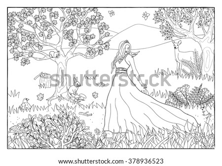 Coloring page - Princess in the forest - stock vector