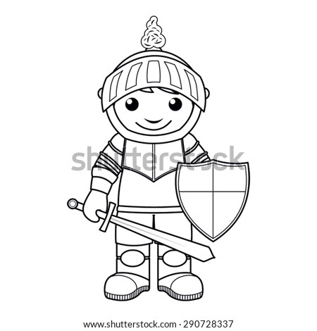 Coloring page: vector Illustration of a black and white outline image of knight with a sword and shield - stock vector