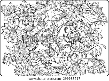 coloring page with flowers and bees collecting honey - stock vector