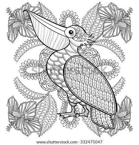 Coloring page with Pelican in hibiskus flowers, zentangle illustartion for adult Coloring books or tattoos with high details isolated on white background. Vector monochrome bird sketch. - stock vector