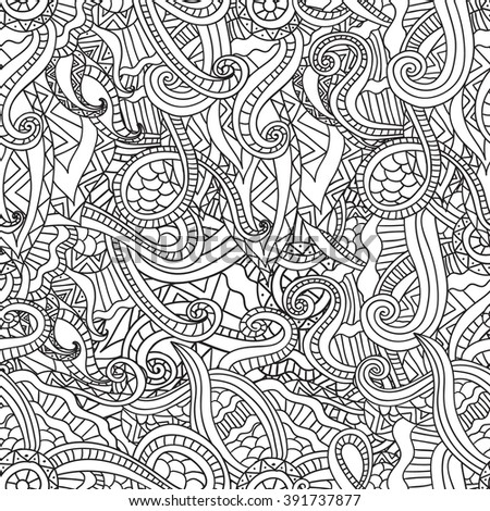 Coloring pages for adults. Coloring book.Decorative hand drawn doodle nature ornamental curl vector sketchy seamless pattern - stock vector