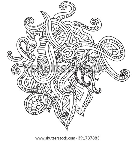 Coloring pages for adults. Coloring book.Decorative hand drawn doodle nature ornamental curl vector sketchy pattern - stock vector