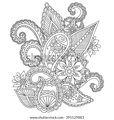 Coloring pages for adults. Henna Mehndi Doodles Abstract Floral Paisley Design Elements, Mandala,Vector Illustration. Coloring book. Coloring pages for adults. - stock vector