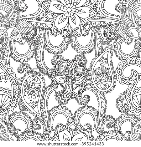 Coloring pages for adults. Seanless pattern.Henna Mehndi Doodles Abstract Floral Paisley Design Elements, Mandala,Vector Illustration. Coloring book. Coloring pages for adults. - stock vector