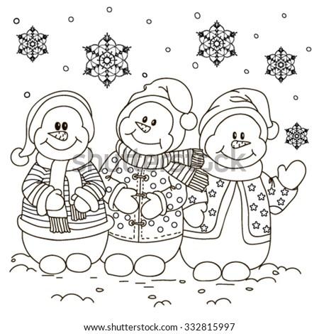 Coloring. Three snowmen. - stock vector