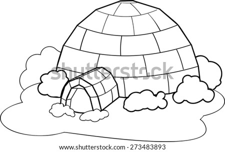 Coloring with igloo - stock vector