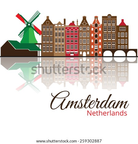 Colorized vector silhouette of Amsterdam. City skyline. - stock vector