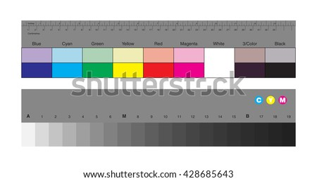 Colors control patches and gray scale - stock vector