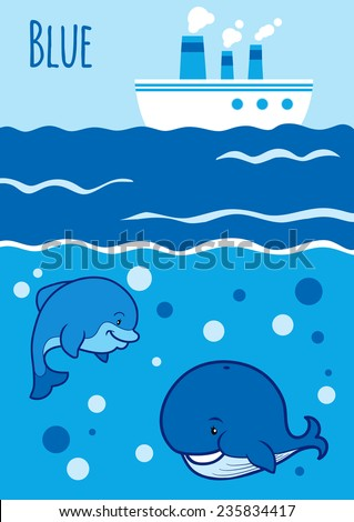 Colors for kids: blue - stock vector
