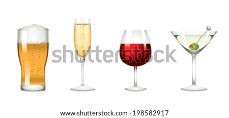 Colors low alcohol drinks icon - stock vector