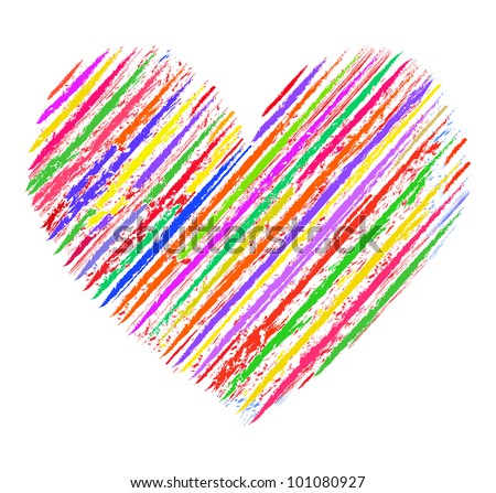 Colors of love. Illustration of colorful  abstract  heart on white background - stock vector