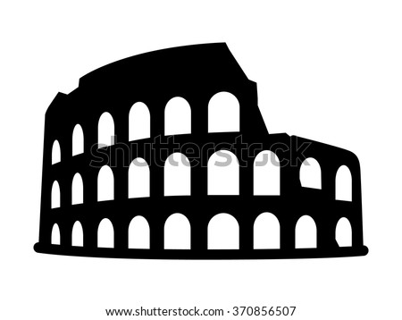 Colosseum / Coliseum amphitheater in Rome, Italy flat icon for travel apps and websites - stock vector