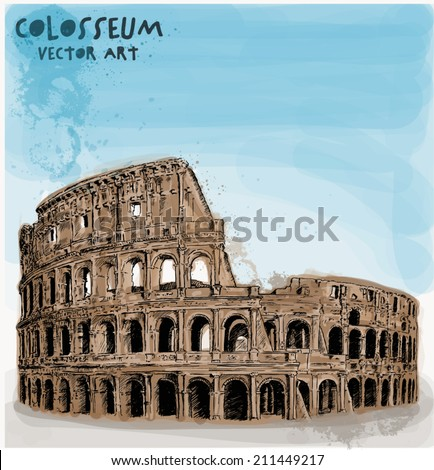 Colosseum hand vector illustration with watercolor  - stock vector