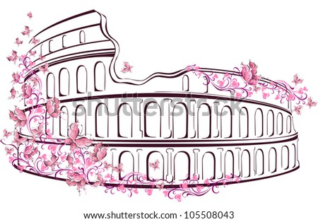 Colosseum in Rome, Italy - stock vector