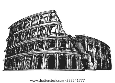 Colosseum vector logo design template. Italy or Rome icon. - stock vector