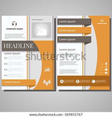 Colour Brochure Flyer design Layout template, size A4, Front page and back page design eps 10 - stock vector