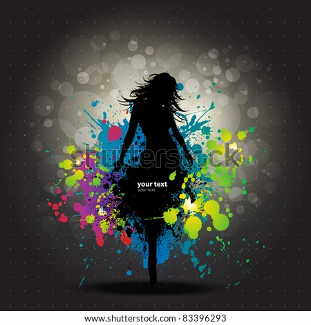 Colour Grunge poster with girl dancer - stock vector