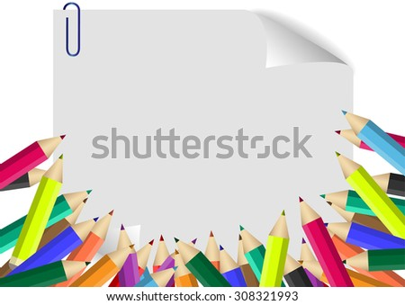 Colour pencils isolated on white paper background - stock vector