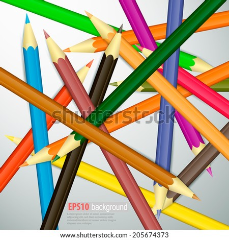 Coloured pencils. Illustration on white background - stock vector