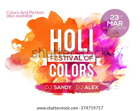 Colourful abstract design decorated Poster, Banner or Flyer for Indian Colour Festival, Holi celebration. - stock vector