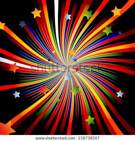 Colourful background of a star a rainbow day a birth - stock vector