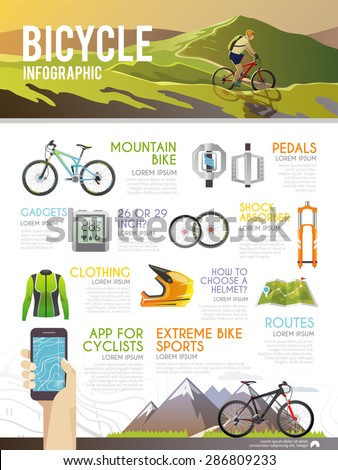 Colourful bicycle vector infographic. The concept of infographic for your business, web sites, presentations, advertising etc. Quality design illustrations, elements and concept. Flat style. - stock vector