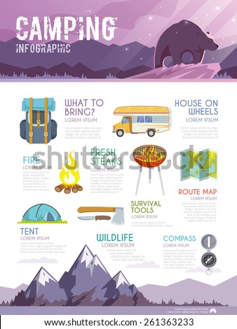 Colourful camping vector infographic. The concept of infographic for your business, web sites, presentations, advertising etc. Quality design illustrations, elements and concept. Flat style. - stock vector
