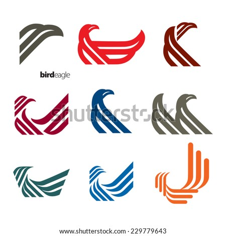 Colourful eagle symbols isolated on a white background. Vector illustration. - stock vector