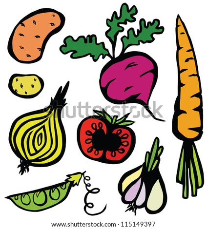 Colourful Healthy Vegetable Set - stock vector