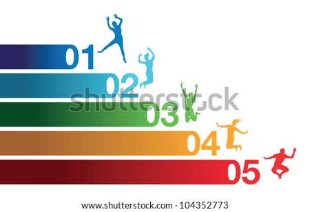 colourful jumping people - stock vector
