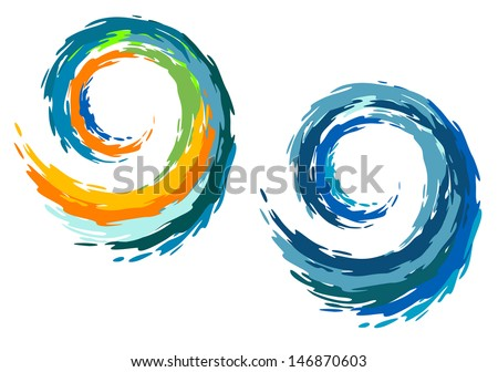 Colourful ocean waves isolated on white background. Jpeg version also available in gallery - stock vector