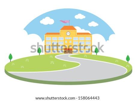Colourful School building Hemisphere (VECTOR) - stock vector