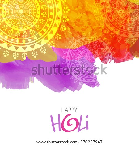 Colourful splash with floral design decorated background for Indian Festival of Colours, Happy Holi celebration. - stock vector