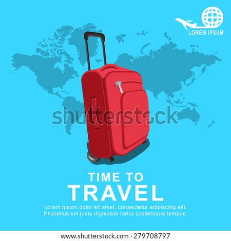 Colourful travel concept vector flat banner vith travel bag and world map.  - stock vector