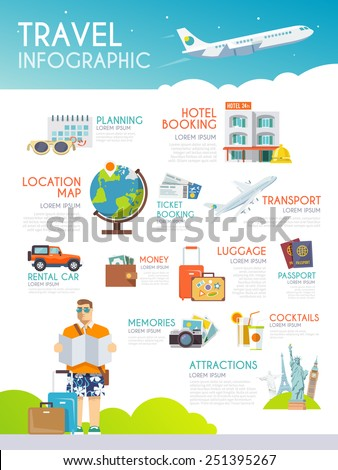 Colourful travel vector infographic. The concept of infographics for your business, web sites, presentations, advertising etc. Quality design illustrations, elements and concept. Flat style. - stock vector