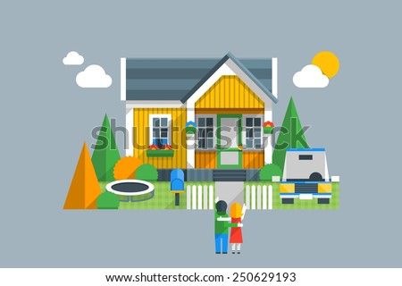 colourful vector background with couple looking at there dream home - stock vector