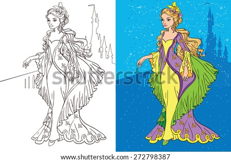 Colouring book.Beautiful princess in a long dress - stock vector