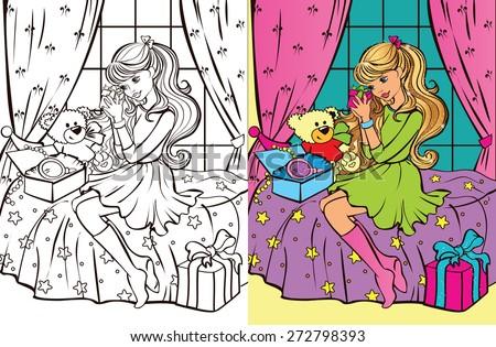 Colouring book.Beautiful teen girl unpacks gifts - stock vector